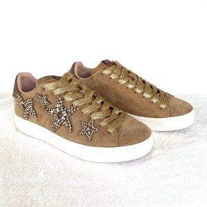 Coach Brown & Gold Star Embellished Sneakers